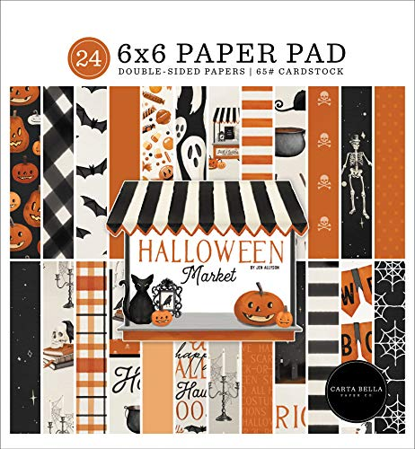 "Carta Bella Double-Sided Paper Pad 6""X6"" 24/Pkg-Halloween Market, 12 Designs/2"