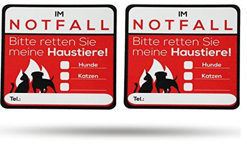 SECYOURITY®️ - Notfall Aufkleber Haustier Rettung - 2 Stück Warnaufkleber - Premium Qualität - 80 mm x 80 mm - für Haustür und Auto