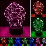 ERBEIOU seta Luz de Noche para Niños, Lámpara de Luz 3D, 16 Colores Cambian con Control Remoto, Ideas de Festivo y Regalos para Niños Niñas y Adultos