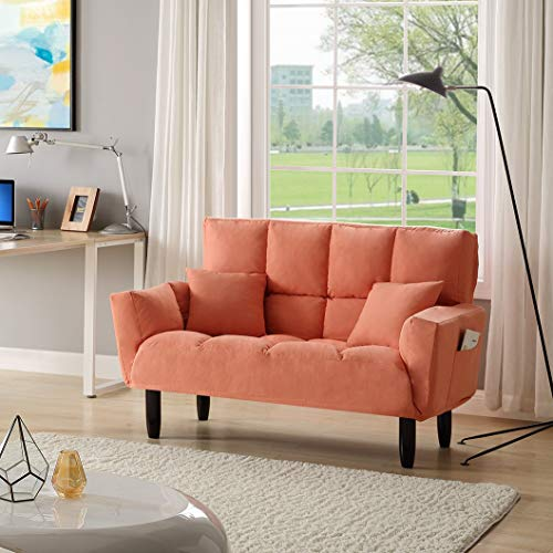 Goujxcy Upholstered Convertible Sleeper Sofa Bed Twin Size with 2 Pillows, Adjustable Backrest Recliner Lounge Sofa Couch for Living Room, Solid Wood Legs, Orange