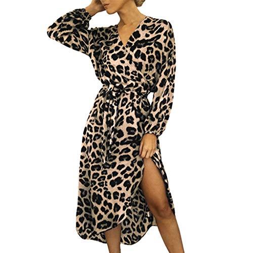 Mymyguoe Christmas Kleid Knielang Damen Leopard Bedruckt Tunika Kleid V-Ausschnitt Langarm Sommerkleid mit Gürtel Partykleid