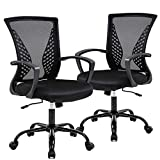 Mesh Office Chair Desk Chair Computer Chair with Lumbar Support Armrest Mid Back Rolling Swivel Adjustable Task Ergonomic Chair for Women Adults, Set of 2