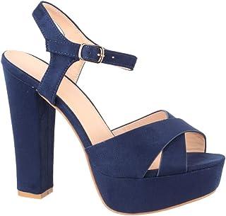 Zapato de Tacón Mujer Punta Abierta Sandalia Chunkyrayan