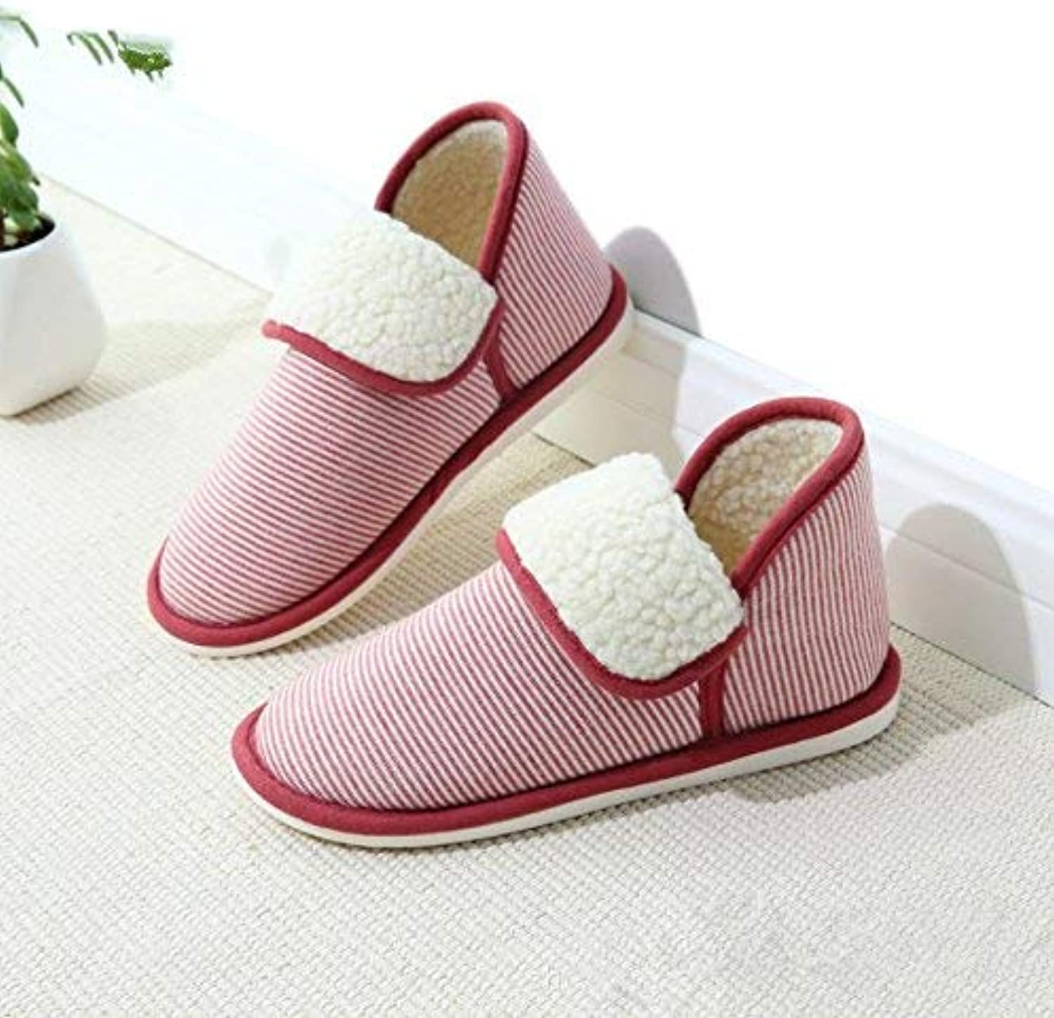 Lady Slippers Women 's Home Slippers Indoor Keep Warm Package Bag Cotton Slippers Bedroom Stripe Red Large for Women