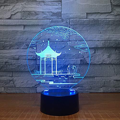 CXZZV 3D Lampe Alter China-Pavillon Nachtlicht Für Kinder Led Tischlampe Mit 7 Farbwechsel Schlafzimmer Nachttisch Dekoration Kinder Spielzeug Geschenk Für Weihnachten Geburtstag