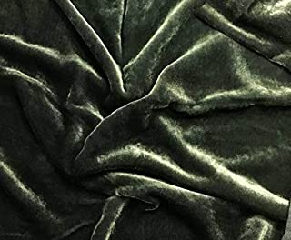 Silk Velvet Fabric - Hand Dyed Moss Green (by The Yard)