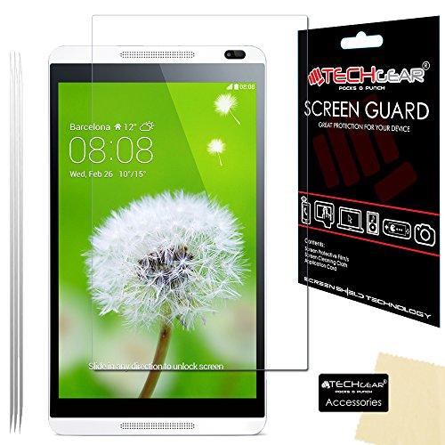 TECHGEAR [3 Stück Bildschirmschutz für MediaPad M1 8.0 Zoll - Ultra Klare Schutzfolie für Huawei MediaPad M1 8.0 Zoll (S8-301L) - mit Reinigungstuch + Applikationskarte
