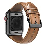 BRG Leather Bands for Apple Watch Band 44mm 42mm 40mm 38mm with Case, Men Women Replacement Genuine Leather Strap for iWatch Series 5 4 3 2 1 Sport and Edition