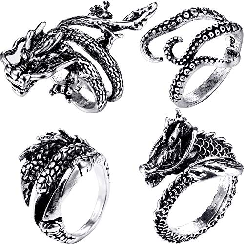 4 Pieces Vintage Punk Rings Octopus Dragon Adjustable Stainless Steel Ring (Dragon Body, Octopus, Dragon Claw, Dragon Head)