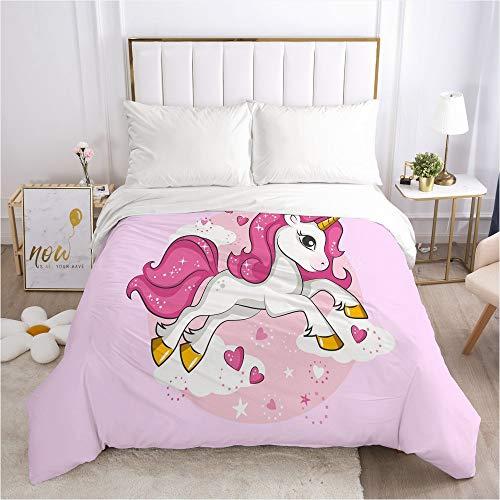 LYzpf 3D Bettwäsche Vierteiliges Set Bett Einhorn Bettwaren Super Weiche Mikrofaser Atmungsaktive Baumwoll Bettbezug & Kissenbezug Pflegeleicht,Unicorn,173 * 230cm