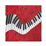 TropicalLife HaJie Tovaglioli per pianoforte con note musicali, tovagliolo di carta satinata, in poliestere, riutilizzabili, per tavolo e bambini, 50,8 x 50,8 cm, 1 pezzo