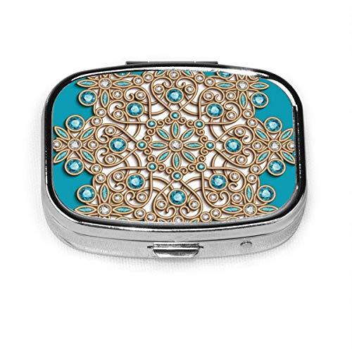 Pastillero redondo vintage joyería dorada personalizada plata cuadrado Pastillero soporte para tableta medicina estuche organizador para bolsillo o bolso