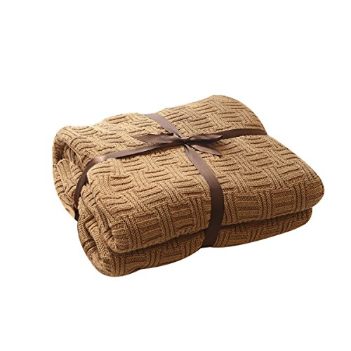MYLUNE HOME 100% Baumwolle Stilvolle Strickdecke für Fernsehen oder Nap auf dem Stuhl, Sofa und Bet(120x180cm,Brown)