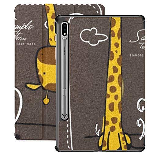 Galaxy Tablet S7 Plus Custodia da 12,4 pollici 2020 con supporto per penna S, collo lungo Giraffa Biglietto d'auguri Custodia protettiva sottile per Samsung