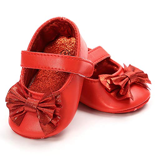 Antheron Baby Girls Non-Slip Mary Jane Flats with Bowknot Toddler First Walker Sandals Princess Dress Shoes (Red,0-6 Month)