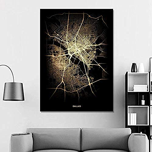 XIANGLL canvasdruk Canvas Prints Eindhoven Black White Custom World City Map Poster Pictures Print On Canvas Nordic Style Wall Art Canvas Paintings for Home Decor No Frame -12x16_Inch(30cmX40cm) 16x20 Inch(40cmX50cm) 1