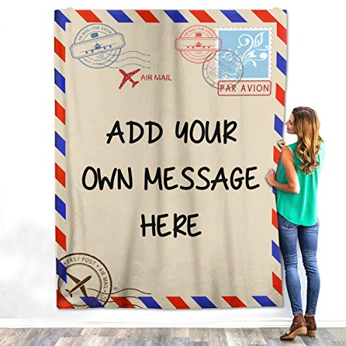VTH GLOBAL Personalized Custom Name Message Text for Daughter Son Mom Dad Wife Husband Girlfriend Boyfriend Handwriting Letter Fleece Sherpa Blanket Bed Throw Size Tapestry Wall Hanging