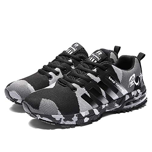 Baskets Camouflage Homme,Overdose Mode Running Training Chaussures à Lacets en Maille Respirante Sport Shoes Casual Flat (43, Marron)