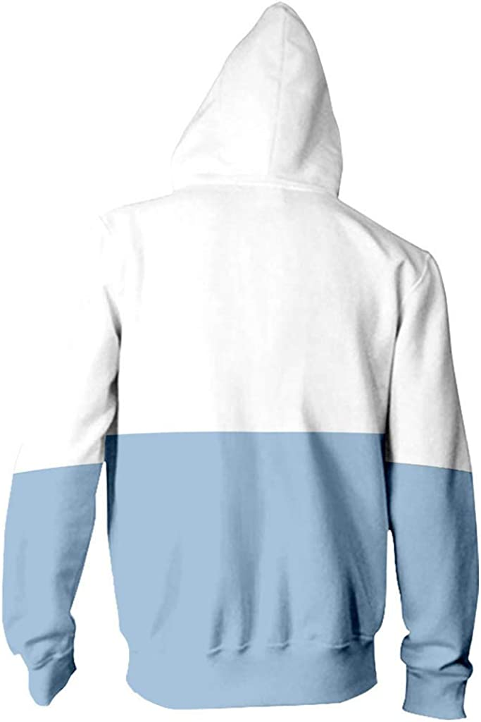 Riou Damen Kapuzenpullover Hoodie mit Reißverschluss Herbst Winter Langarm Sweatshirt Katzendruck Hip Hop Sweatjacke Sky Blue