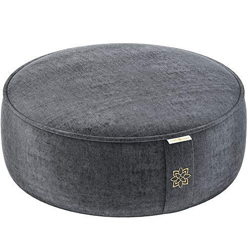 Mindful and Modern Velvet Meditation Cushion - Luxury Zafu Floor Pillow for Yoga - Large Buckwheat Meditation Pillow with Luxe Removable Cover in Six Colors (Graphite Grey)