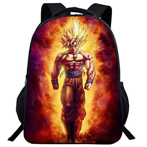 KIACIYA Stampa 3D Dragon Ball Zaino da Scuola per Bambino,Dragon Ball Borse Ragazzo Ragazza Resistente all'usura Viaggio Zaino Hipster Backpack Bookbag (A09)