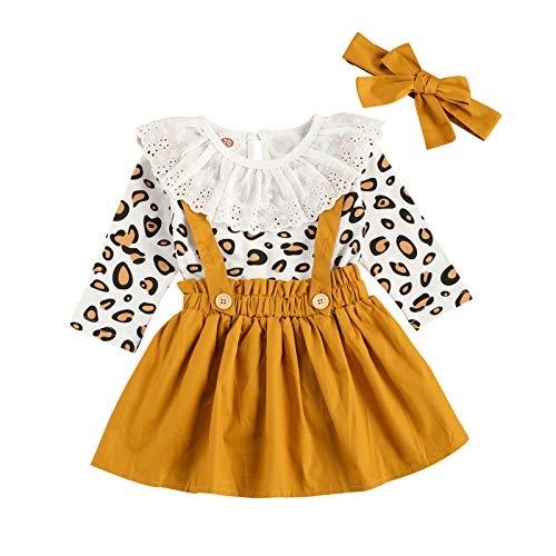 Carolilly 3 Pezzi Completo Bambina Stampa Leopardato Pagliccetto a Manica Lunga in Pizzo+Vestito Bambina Principessa + Fascia per Neonata da Natale Festa Cerimonia (Giallo, 12-18 Mesi)