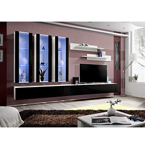 Banc TV avec LED - 6 éléments - Noir et blanc