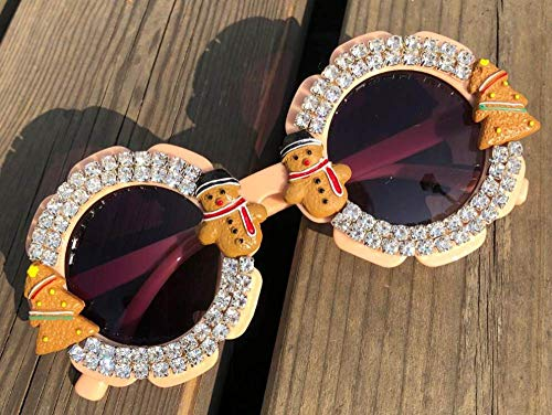CIDCIJN Childrens Sunglasses,Gorgeous Diamond Baby Cute Yellow Sunglasses Round Shades Party Eyewear Christmas Cartoon Design Handmade Kids Eyeglasses