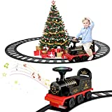 TEMI Ride On Train with Track Electric Ride On Toy w/ Lights & Sounds Storage Seat Train Toy Ride for Kids...