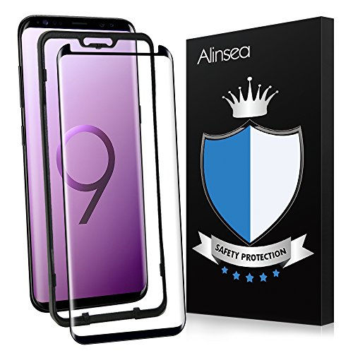 Galaxy S9 Screen Protector, Alinsea Galaxy S9 Tempered Glass [3D Glass] Curved Edge [Case...