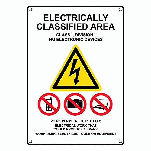 Weatherproof Plastic Vertical Electrically Classified Area Sign with English Text and Symbol