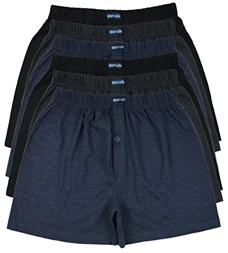 MioRalini TOPANGEBOT Boxershorts farbig weich & locker in neutralen Farben klassischen Unifarben Herren Boxershort, 6 Stück, 5XL-11