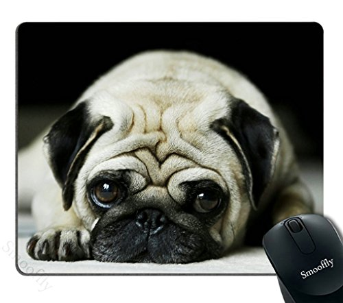 Smooffly Cute Pug Dog Mousepad Custom, Funny Animal Gaming Mouse pad 9.5X7.9 inches
