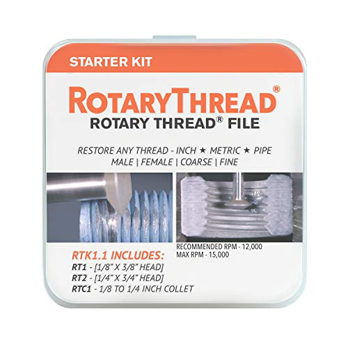ROTARY THREAD - Thread Repair Kit, 3 Piece File Starter Kit; Chase, Restore, Repair, and Clean: Male, Female, Inch, Metric, And Pipe Threads (RTK1)