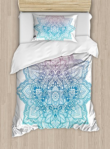 Ambesonne Lotus Duvet Cover Set, Bohemian Tattoo Style Pastel Toned Mandala Abstract Lotus Flower Design, Decorative 2 Piece Bedding Set with 1 Pillow Sham, Twin Size, Lilac Blue