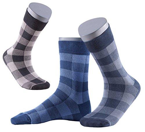 Gatta Perfect Man Herrensocken - 3er Pack - dunkelblau grau schwarz karierte Socken für Männer - hoher Baumwollanteil - Größe 39-41