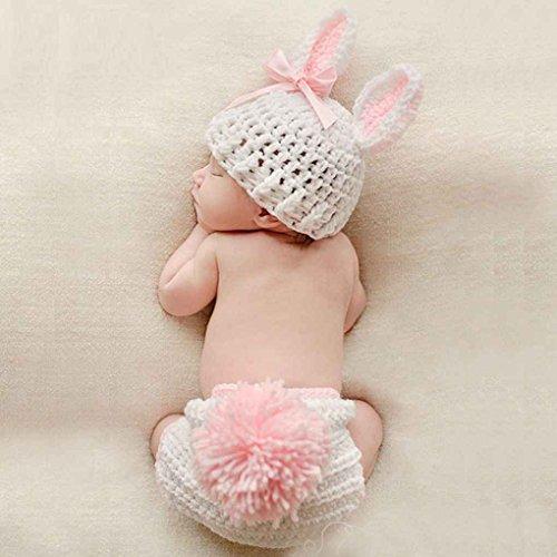 Forbestest Ropa de bebé Lindo de la fotografía del Ganchillo del bebé recién Nacido apoyos de la Foto del bebé del Traje de los apoyos Conejo Flor de la niña Trajes Set