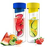 Fruit Infuser Glass Flavor it Water Bottle for Naturally Flavored Water by Asbou 20 Oz (2 Pack) Blue Yellow