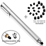 B & D 5.5'' Stylet Stylo Écran Tactile Capacitif Stylus pour Apple iPad, iPhone, iPod, Kindle, Tablette, Samsung Galaxy, LG, HTC+ 20 Embouts de Rechange (Argent)