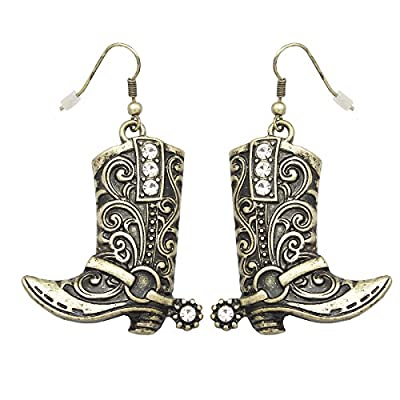 RechicGu Vintage Gold Tone Western Wild West Cowgirl Texas Boots Spur Rodeo Fancy Dress Costume Dangle Earrings