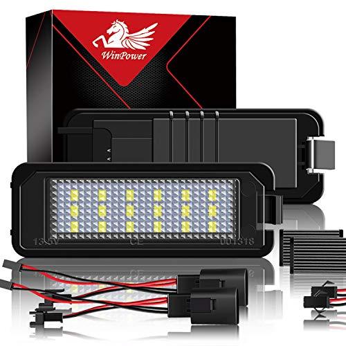 WinPower LED Kennzeichenbeleuchtung Glühbirnen Nummernschildbeleuchtung Lampe 3582 SMD mit CanBus Fehlerfrei 6000K Xenon kaltweiß, 2 Stücke