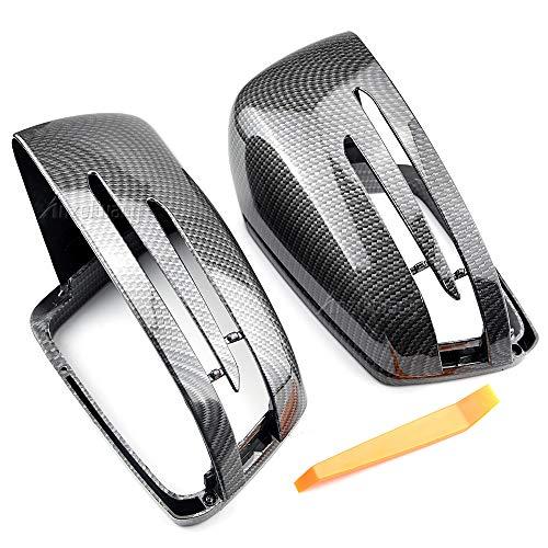 MKptopia Carcasas de espejo retrovisor Cubierta de espejo de ala lateral Estilo de plástico ABS Apto para Mercedes-Benz A B C E S CLA GLK GLA Clase W176 W246 W204 W212 W221 X156 C117-Fibra de