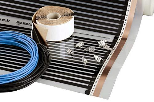 Película calefactora 4m2, 220W/m2, 230V, ancho 50cm, Kit de calefacción por suelo radiante eléctrico por infrarrojos