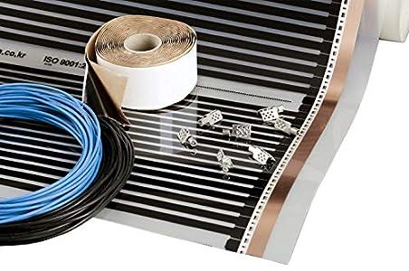 Película calefactora 5m2, 220W/m2, 230V, ancho 50cm, Kit de calefacción por suelo radiante eléctrico por infrarrojos