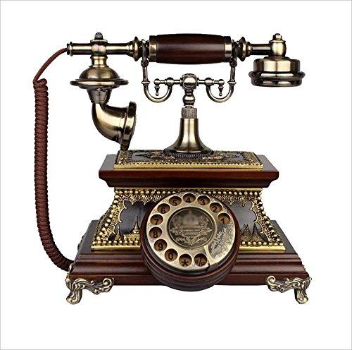Landline Telephone, Antique Telephone, European Retro Wood Rotary Telephone, Old-Fashioned Living Room Home Wireless Telephone, Solid Wood Telephone, 2726cm