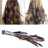 Frcolor Feder Haarverlängerungen Clip, handgemachte Boho Hippie Haarverlängerungen Feder Clip Kamm Haarnadel (gemischte Farbe)