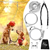 Dog Runner for Yard, Dog Trolley System-100ft Aerial Dog Tie Out Run Cable with 10ft Pulley Runner Lead and Double Bungee Dog Leash Up to 125lbs for Medium Large Dogs, Dog Run Chains for Outside
