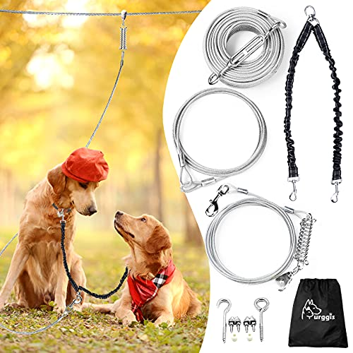 Dog Runner for 2 Dogs, Dog Leads for Yard Heavy Duty 100 ft with 10 ft Pulley Runner Line and Double Bungee Up to 250 lbs, Dog Run Tie Out Cable for Outdoor, Dog Trolley System for Medium Large Dogs