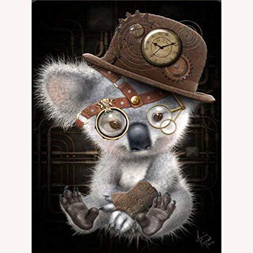 Bhgvtz Koala con Gafas Pintura Digital niños Adultos Pintar Lienzo y Pintura acrílica Kit de Bricolaje Juego Completo de Pintura para el hogar. Sin Marco 40x50cm