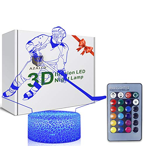 3D Illusion Hockey Night Light Lamp 16 Color Change Touch White Crack Base with Remote Control AZALCO Birthday Gift